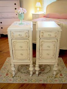 CUSTOM PAINTED Vintage 1920s Pair of Nightstands by ForgetMeNotsCottage, $395