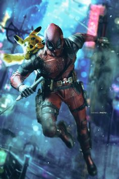 Deadpool and Pikachu funny pics