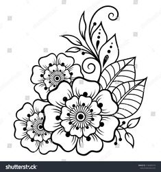 Mehndi flower pattern for Henna drawing and tattoo. Decoration in ethnic oriental, Indian style. Mehndi flower pattern for Henna drawing and tattoo. Decoration in ethnic oriental, Indian style. Henna Patterns Hand, Simple Henna Patterns, Flower Patterns, Doodle Patterns, Henna Kunst, Henna Art, Henna Mandala, Henna Tattoo Designs, Flower Tattoo Designs