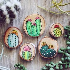 Set of Five Hand-Painted Cactus Decorative Magnets on Wood Curated by Scout Smith on Etsy Updates from walrusandtoad on Etsy Rub off transfers? Wood Slice Crafts, Wood Burning Crafts, Wood Burning Art, Cactus Decor, Cactus Art, Garden Cactus, Wood Art Design, Diy And Crafts, Arts And Crafts