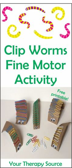 Clip Worm Fine Motor Activity Freebie - Your Therapy Source - Fine motor skills - The clip worm fine motor activity is a simple and economical challenge for little fingers and hands - Preschool Fine Motor Skills, Fine Motor Skills Development, Fine Motor Activities For Kids, Motor Skills Activities, Gross Motor Skills, Infant Activities, Sensory Activities, Fine Motor Activity, Physical Activities