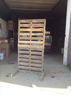 Pallet stacked for chur h backdrop