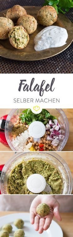 Falafel selber machen - so werden die Kugeln knusprig! Just make falafel yourself! Crunchy casing and soft core - at first glance, the golden-brown, deep-fried balls remind me a bit of croquettes, may Grilling Recipes, Veggie Recipes, Diet Recipes, Vegetarian Recipes, Cooking Recipes, Healthy Recipes, Pasta Recipes, Snacks Recipes, Burger Recipes