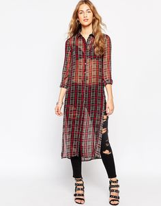 Glamorous | Glamorous Check Shirt Dress with Side Splits at ASOS