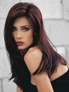 dark hair with red highlights