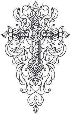 New embroidery clothes urban threads 44 Ideas Cross Coloring Page, Love Coloring Pages, Colouring Pics, Coloring Books, Coloring Sheets, Cross Tattoo Designs, Cross Designs, Free Adult Coloring, Cross Art