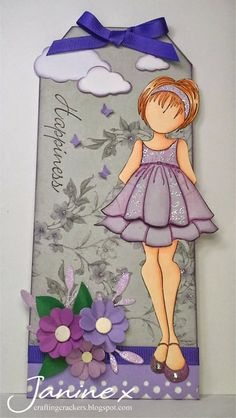 Prima Doll Tag --- Here's my DT project for this week's Sweet Stampin' challenge - the theme is 'Lots Of Layers'. Prima Paper Dolls, Prima Doll Stamps, Hand Made Greeting Cards, Making Greeting Cards, Card Tags, Gift Tags, Paper Tags, Copics, Scrapbook Paper Crafts