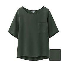 WOMEN Silk Half Sleeve T Blouse