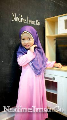 Nadine Iman in pink jubahdress and Soft denim kids headscarf #jubah #jubahdress #hijab #hijabista #kids #dress #longdress #nadineimanco #malaysia #Brunei #islamic #veil #tudung more details Via FB and IG