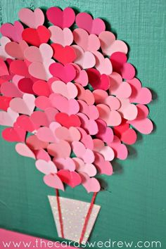 Creative DIY Valentine Craft Ideas for Kids- paper heart air balloon