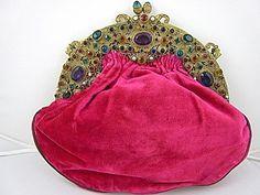 1920s hot pink velvet handbag / purse / clutch