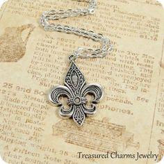 Fleur De Lis Necklace Silver Fleur De Lis Charm by treasuredcharms