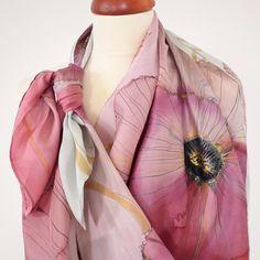 Růžové máky...velký hedvábný šátek Silk