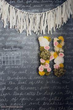 DIY Faux Flower Metal Letter www.simplestylings.com
