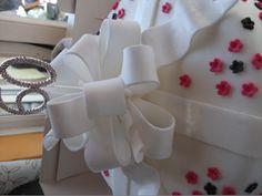60th birthday cake with handmade sugarpaste bow