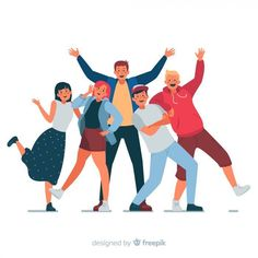 Group of young people posing for a photo Free Vector Illustration Design Plat, Character Illustration, Graphic Illustration, Flat Design Inspiration, Happy Teens, People Dancing, Music People, Web Design, Logo Design