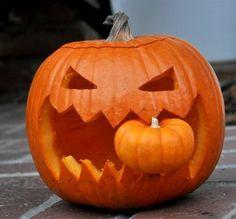 Love this idea for a Halloween pumpkin eating another pumpkin. CANNIBAL PUMPKIN! | by Baking Bites