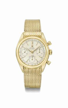 Rolex. A fine and rare 18K gold chronograph wristwatch with bracelet. Circa 1953 #ChristiesWatches