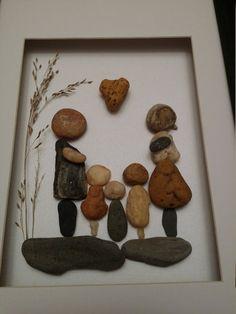 Arte de la familia guijarro familiar de cinco por madebynatureandme