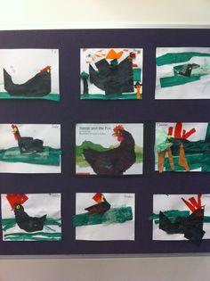 Mem Fox Hattie and the Fox tissue paper collages Teaching Literature, Education And Literacy, Children's Literature, Kindergarten Activities, Teaching Art, Book Activities, Mem Fox Books, Picture Story Books, Fox Crafts