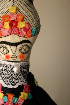 frida doll, inspirational! How many people can you think of that would make an interesting doll? Liberace is one. Elton John's early days? Fun!