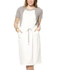 This Ecru Stripe Drawstring Shift Dress is perfect! #zulilyfinds