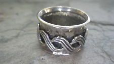 925 Sterling Silver SPINNER WAVES Ring (Size 6) SIGNED PZ ISRAEL #154