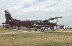 A Grand Caravan waiting for its next load of skydivers at my first drop zone. Capitol Skydiving near Austin TX (Coupland) in 2008