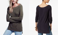 Free People Kate High-Low Thermal Top - Tops - Women - Macy's