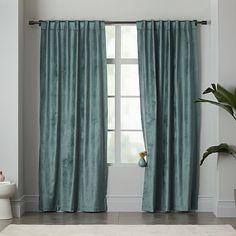Luster Velvet Curtain - Blue Stone #westelm