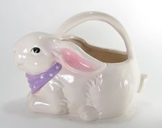 Ceramic Bunny Rabbit Watering Can Flower Basket with Purple Scarf | Pack River Seasonal