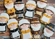 Hello, I'm Adrianne, from Color Me Cookie, and I have been decorating cookies for almost three years now. Last year, I made pilgrim cookies for thanksgiving and loved how they turned out. Thanksgiving Cookies, Fall Cookies, Cut Out Cookies, Cute Cookies, Pilgrims Thanksgiving, Thanksgiving Menu, Cupcakes, Cupcake Cookies, Sugar Cookies