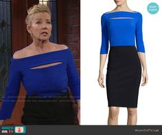 Nikki's blue off-shoulder dress with cutout on The Young and the Restless.  Outfit Details: https://wornontv.net/69119/ #TheYoungandtheRestless