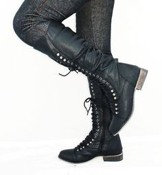 Black Lace Up Zipper Combat Military Womens Flat Knee High Boots