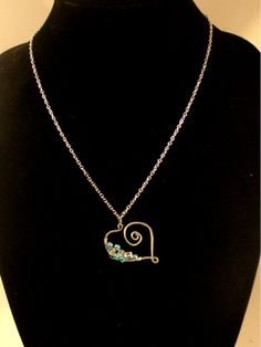 Silver and Blue Beaded Wire Heart Necklace by BeadJewelledDesign, $19.99
