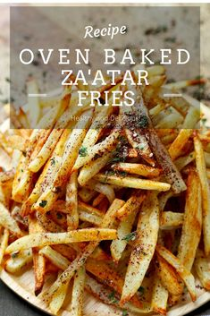 Oven Baked Za'atar Fries - Baked fries sprinkled with a homemade salty, lemony and fresh herbs zaatar spice mix. Plant based diet, plant based recipes, healthy snacks, fries in the oven, vegan Super Bowl recipes, gluten free Super Bowl recipes | pickledplum.com
