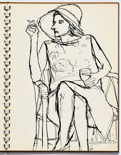 """Richard Diebenkorn, """"Untitled"""" from Sketchbook page 13 pen and ink on paper (gift of Phyllis Diebenkorn, © The Richard Diebenkorn Foundation).Contour drawings in Visual Journals Richard Diebenkorn, Sketchbook Drawings, Drawing Sketches, Art Drawings, Contour Drawings, Figure Drawings, Drawing Faces, Drawing Board, Sketch Art"""