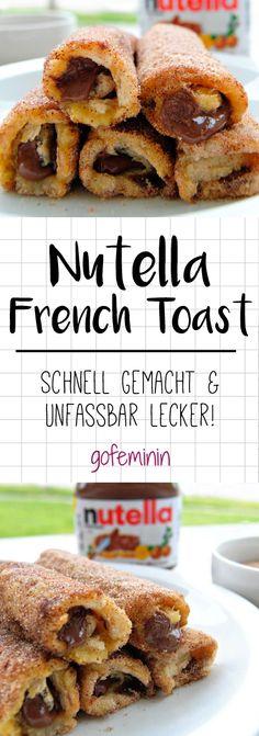 Dieses Rezept für Nutella French Toast Rolls ist sooo einfach und sooo gut! #nutella #frenchtoast #rezepte #süßes