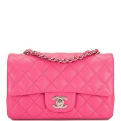 f7c2aefd6465cc Chanel pink lambskin Rectangular Mini Classic flap bag with silver tone  hardware in new or never worn condition. Shop authentic Chanel bags at  Madison ...