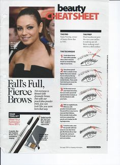 I am going to give this a shot. seems like a pain using both a brow pencil and powder but if I get great brows from it so be it. Beauty Cheat Sheet for your Eyebrows Beauty Tips For Skin, Beauty Makeup Tips, Beauty Make Up, Beauty Secrets, Skin Care Tips, Hair Beauty, Beauty Tricks, Eyebrow Makeup, Skin Makeup