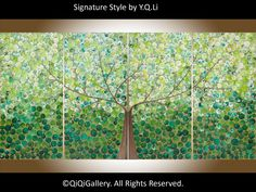 """Oxygen"" by QIQIGallery 72""x36"" Original Painting Tree and Flower Painting Wall Décor Wall Hangings Office Wall Art for Sale by Artist"
