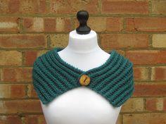 Teal Green Knit Scarf Neck Warmer Winter by LookingGlassDesigns1, £23.00