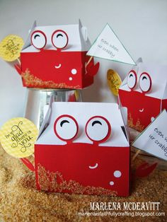 """Cute """"Crabby"""" Boxes made with the Silhouette CAMEO from Marlena is Faithfully Crafting"""