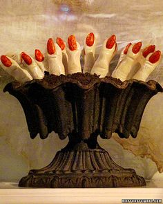 Halloween fall fest dessert ghoulish fingers confections with red-stained blanched almonds as fingernail cookies in urn Halloween Cookie Recipes, Halloween Desserts, Halloween Food For Party, Halloween Cookies, Halloween Night, Holidays Halloween, Halloween Treats, Halloween Foods, Spooky Halloween
