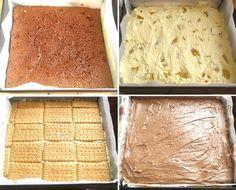 Prajitura Ambasador este un rasfat simplu si bun, cum v-am obisnuit deja. Un blat subtire de cacao si doua creme: una cu bucati de piersici si alta cu Nutella.