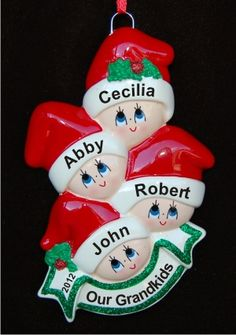 Stocking Caps Our 4 Grandkids Personalized Christmas Ornament