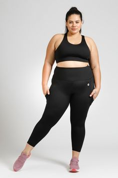 Smart Pocket 7/8 Length Tight - Black – Active Truth™ Workout Session, Full Body, Perfect Fit, Tights, How Are You Feeling, Sporty, Poses, Crop Tops, How To Wear
