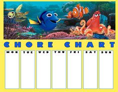 Five free printable Finding Dory Chore Charts that feature the fun Finding Dory characters including Dory, Nemo, Marlin, Hank and more.