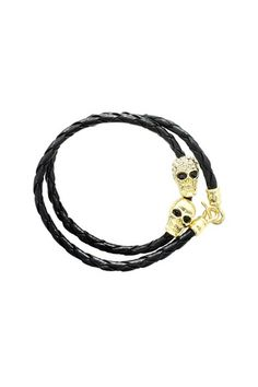 Black & Gold Skull Wrap Bracelet