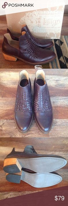 """Latigo """"Kick"""" boots, NWT Gorgeous ankle boots from Latigo, size 8.5.  New in box.  Oxblood tinted brown leather with woven design.  1.5-2.5"""" heel.  Some variations in the textured leather.  Absolutely new in box from my smoke free, pet free home! Latigo Shoes Ankle Boots & Booties"""